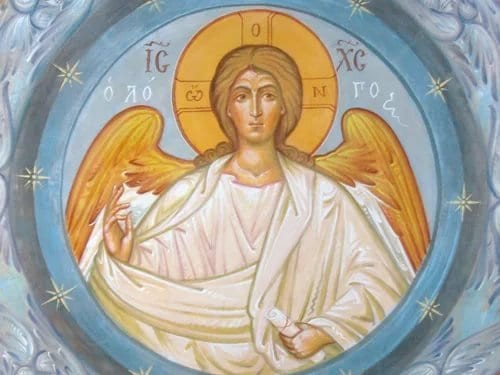 Почему Христа на иконах иногда изображают ввиде архангела скрыльями?