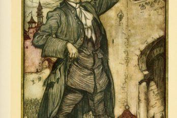 Император лилипутов осматривает свои войска. Иллюстрация Артура Рэкема