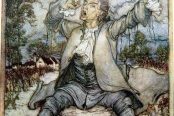 Гулливер освобождается от пут, просыпаясь и зевая. Иллюстрация Артура Рэкема