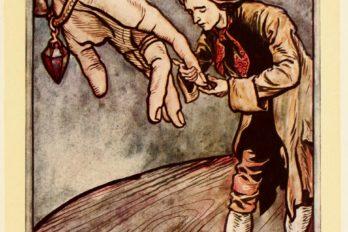 Гулливер целует руку королевы бробдингнегов. Иллюстрация Артура Рэкема