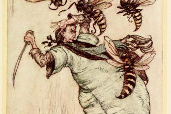 Гулливер борется с осами. Иллюстрация Артура Рэкема