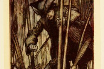 Испугавшись, убегает впервые увидев жнецов бробдингнегов. Иллюстрация Артура Рэкема