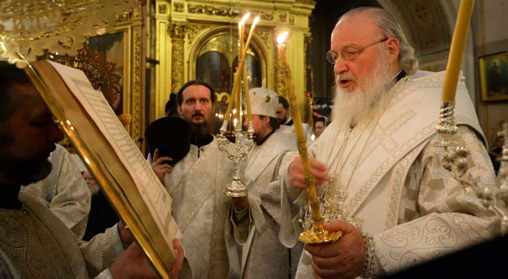 В канун Крещения патриарх Кирилл совершил всенощное бдение в Елоховском соборе