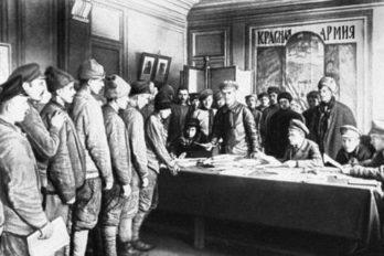 Запись добровольцев в РККА, 1918