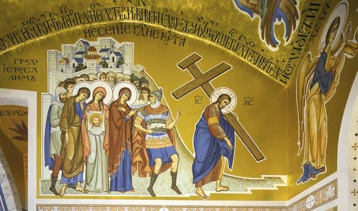 Почему на некоторых иконах Крест вместо Христа несет другой человек?