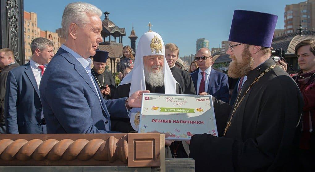 Патриарх Кирилл поучаствовал в строительстве московского храма
