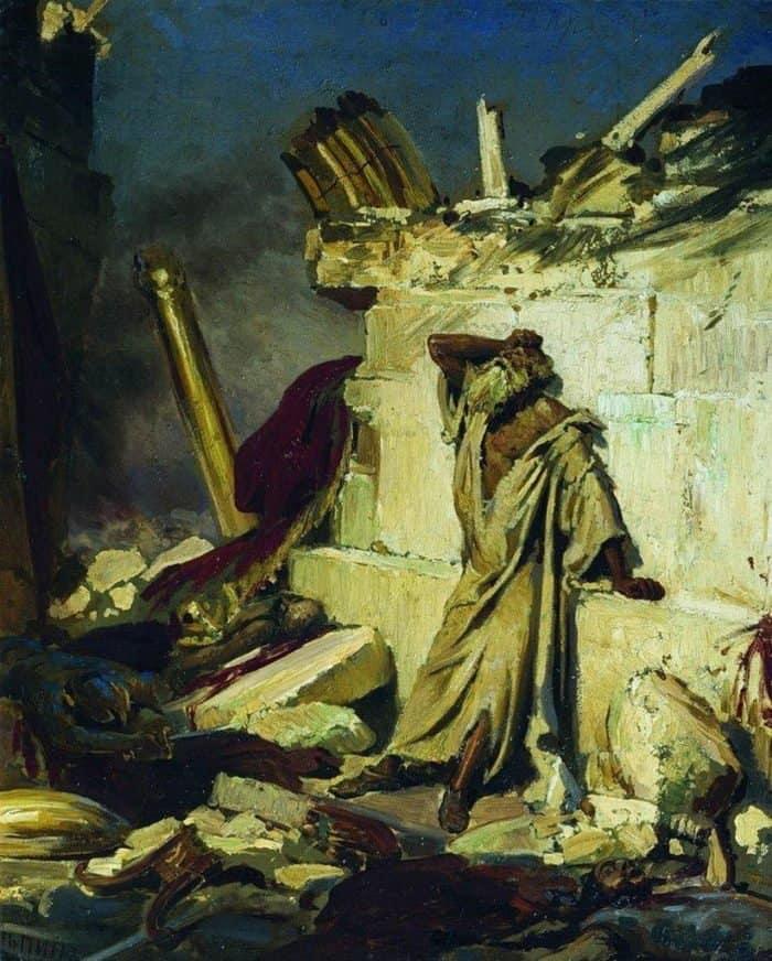 Репин И. Е. Плач пророка Иеремии на развалинах Иерусалима. 1870