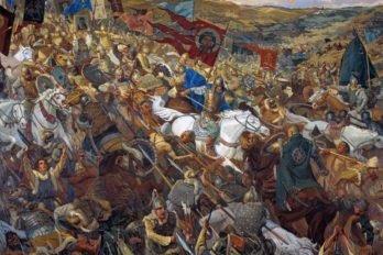 _Удар засадного полка_ 300x210см. 2001г. Павел Попов, Виктор Маторин