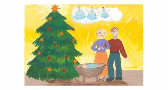 Рождественские открытки из детских рисунков помогут вылечить детей