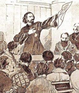 Георгий Гапон читает петицию в собрании рабочих накануне 9 января. Рисунок неизвестного художника/Wikimedia Commons/СС BY 2.0