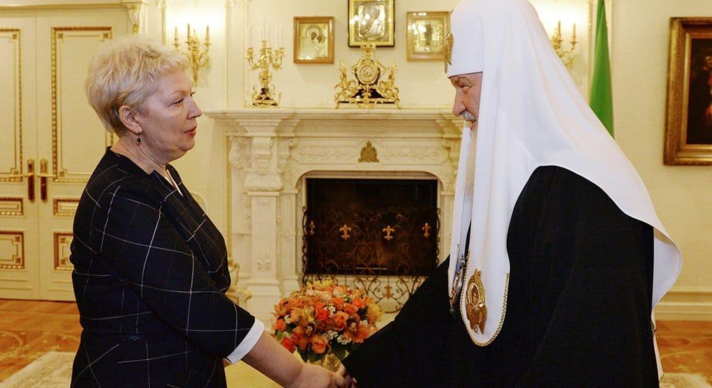 Патриарх Кирилл поблагодарил Ольгу Васильеву за поддержку Церкви в вопросах воспитания молодежи