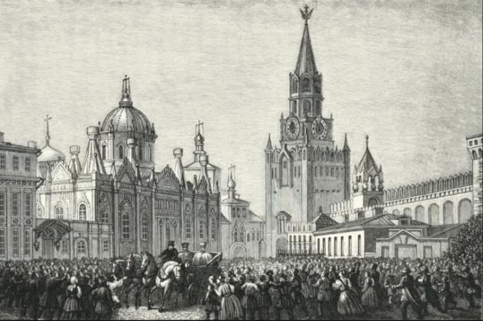 Въезд императора Николая I в Москву во время холеры 1831 года (гравюра того времени)