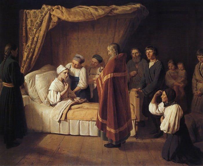 Причащение умирающей, А. Веницианов, 1839