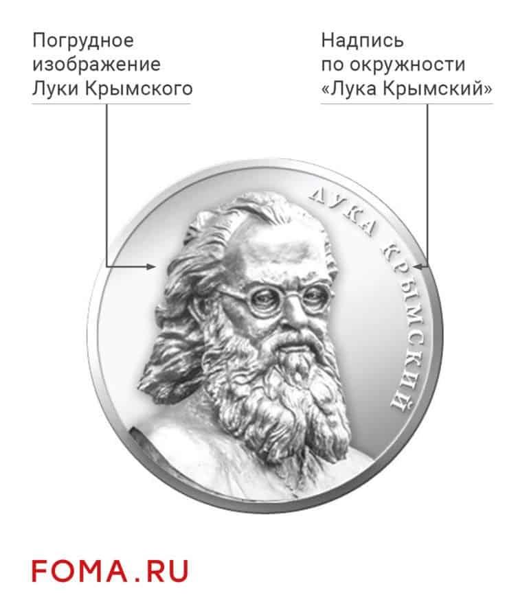 Лицевая сторона: погрудное изображение Луки Крымского и надпись по окружности: «Лука Крымский».