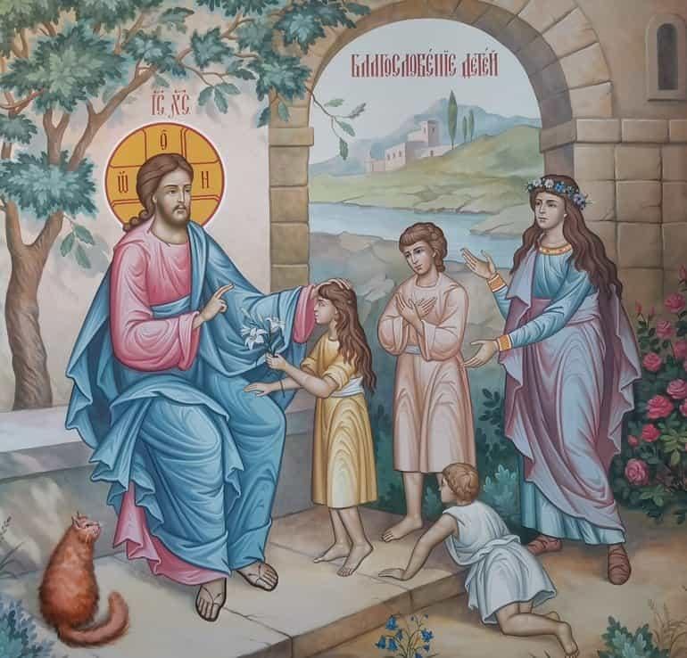 Рыжий кот стал одним из героев фрески, где Христос благословляет детей