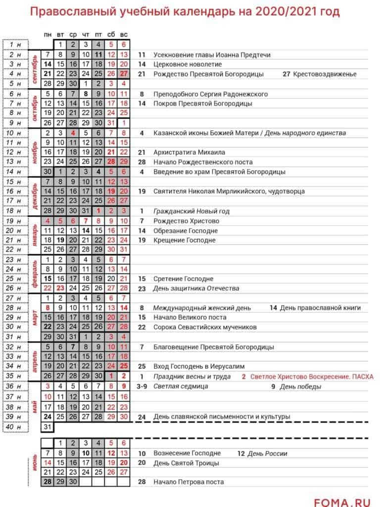 Православный календарь в помощь учителю 2020/2021
