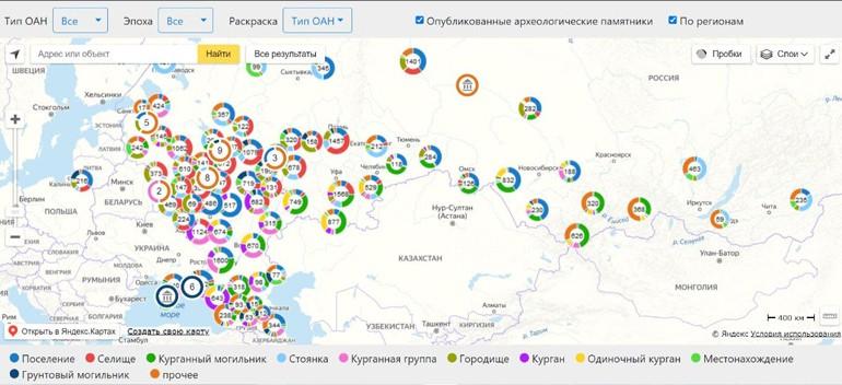 Опубликована электронная карта археологических памятников России